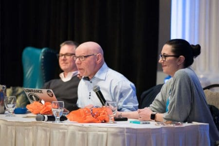 Marty Weintraub (center) speaks at Engage 2017