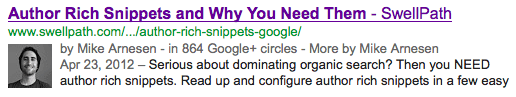 Example of a search result with Google Authorship