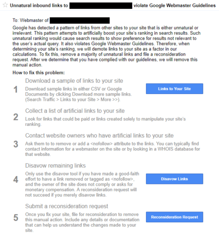 Google Penalty message example