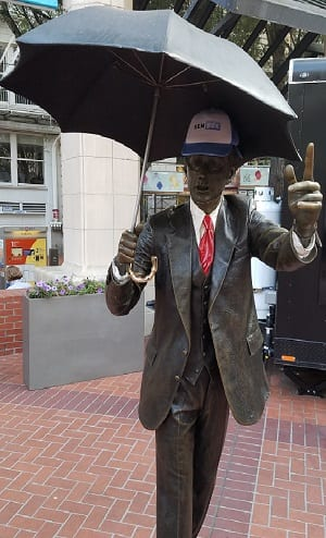 SEMpdx hat on a Pioneer Square statue