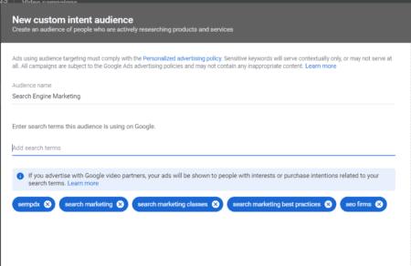 custom intent audiences youtube