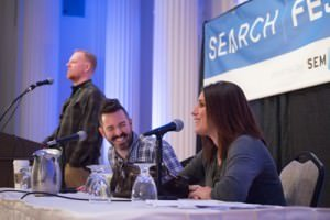 Rand Fishkin, Rae Hoffman and Matthew Brown at SearchFest 2015