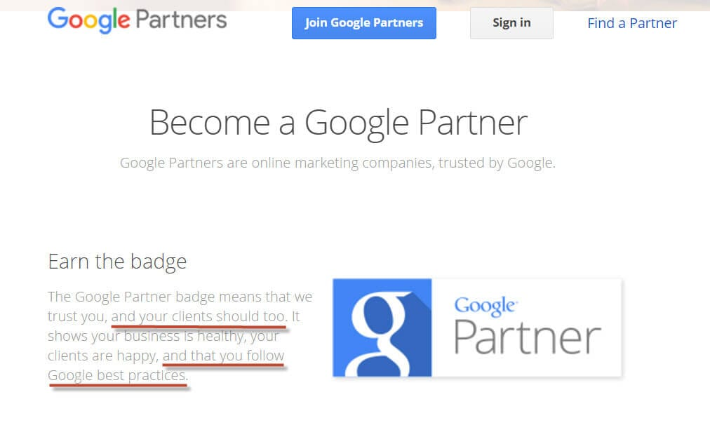 Google Partner Screen